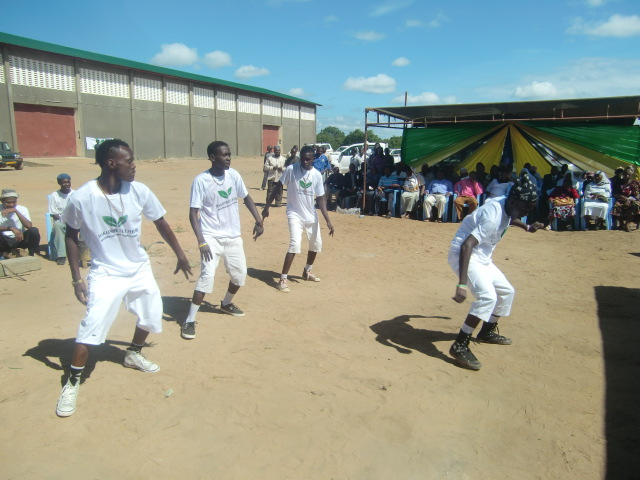 Local cultural group performing during the launch of Sulphur distribution to cashew nut farmers in Mtwara