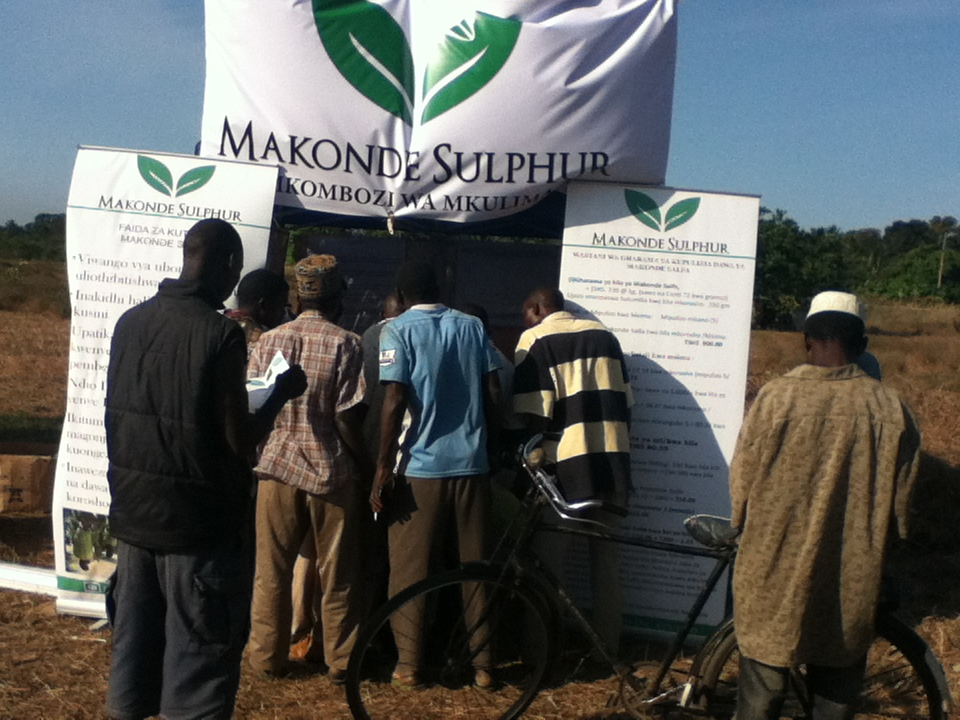 Mobile Farmers Education on the use of Makonde Sulphur to cashew trees