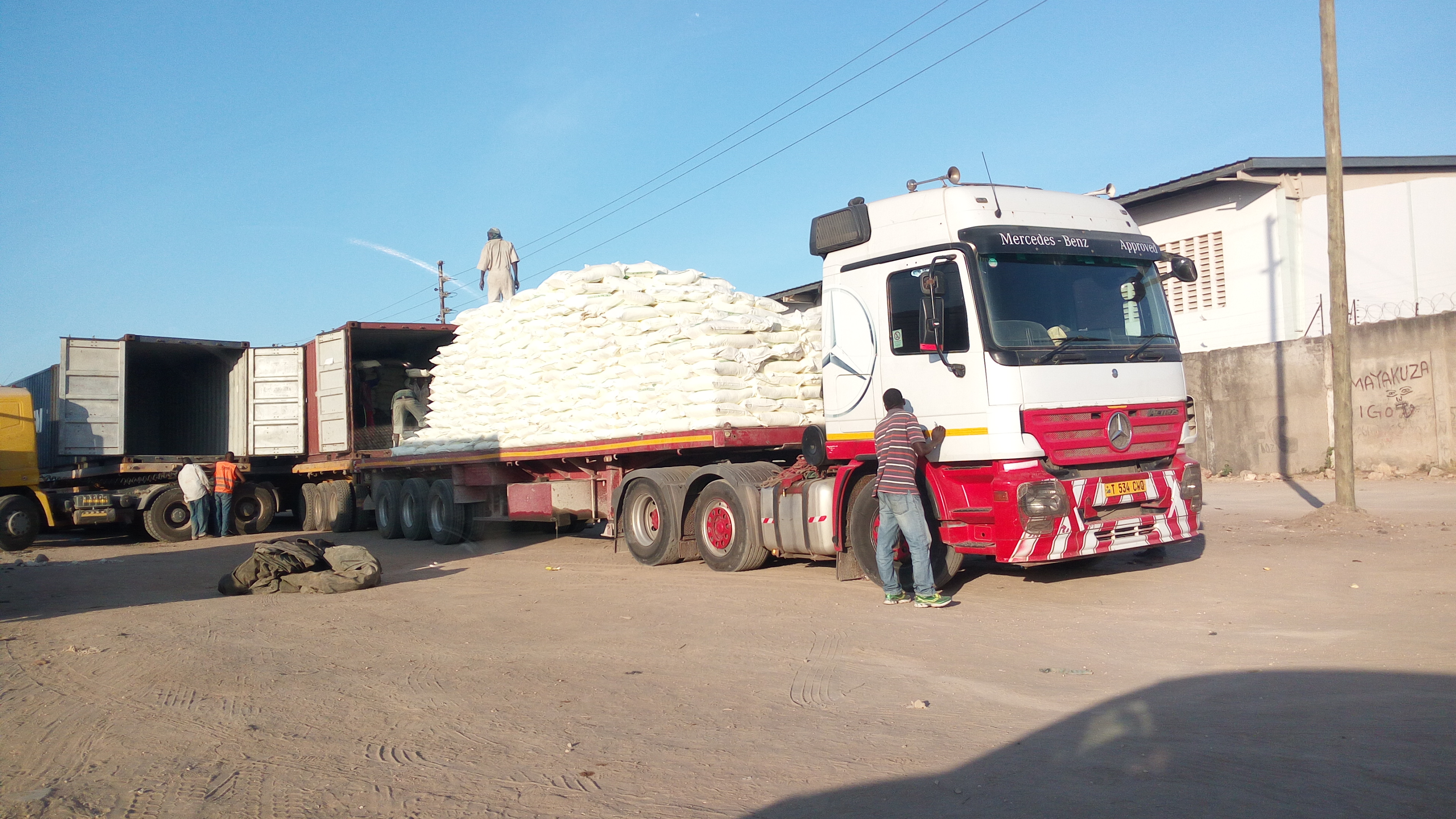 Unloading of Makonde Sulphur ready for distribution to farmers cooperative unions in Tanzania